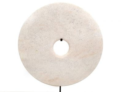 Very Large Chinese Bi Disc in Jade 40cm White
