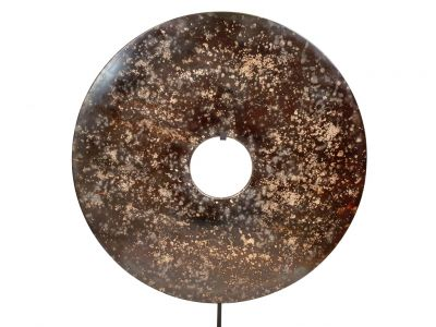 Very Large Chinese Bi Disc in Jade 40cm black spotted