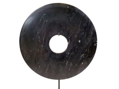 Very Large Chinese Bi Disc in Jade 35cm black (dye)