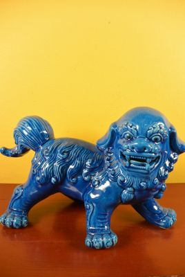 Fu Dog in porcelain Blue