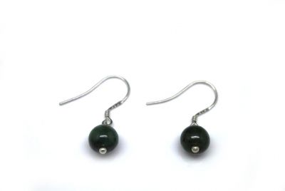 Jade Earrings - Green round bead 0.75cm