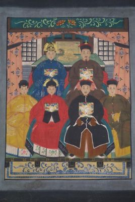 Ancestors and Dignitaries family 6 people Qing