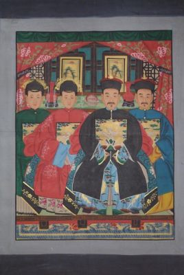 Dignitaries family from China 4 people Qing Dynasty