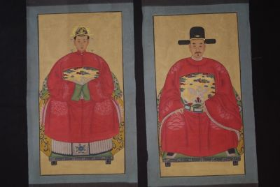 Chinese Ming ancestors couple Painting from China Red