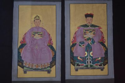 Chinese ancestors couple Painting from China Purple