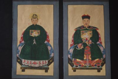 Chinese ancestors couple Painting from China Dark Green