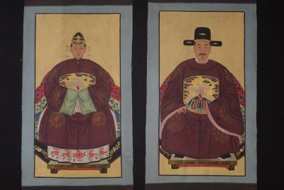 Chinese ancestors couple Painting from China Dark Red