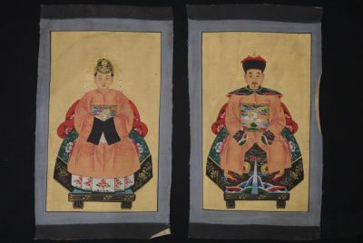Small Chinese ancestors couple - Chinese Oil Painting - Salmon