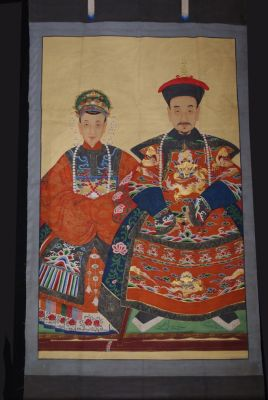 Majestic Chinese ancestors painting - Orange