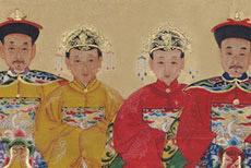 Small Chinese ancestors Couple paintin
