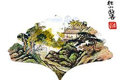 Pintura china en la hoja del árbol