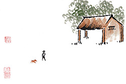Pinturas chinas modernas - acuarelas en papel de arroz
