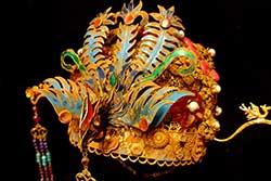 Antiguos sombreros de teatro dorados chinos - Piedra semipreciosa