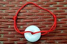 Chinesisches Pi-Armband - Echte Jade und Baumwolle