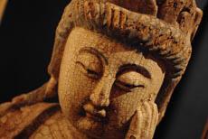 Statue de Bouddha en Bois ancien - Bouddhisme Chinois