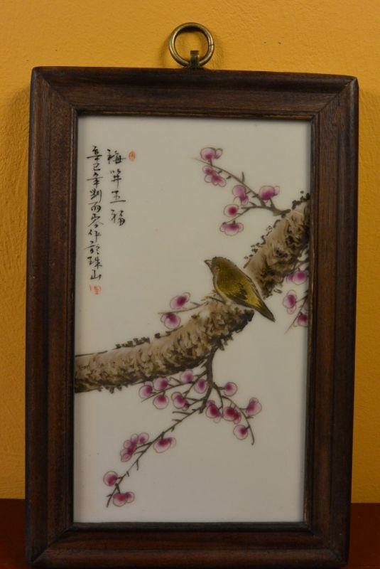 panneau chinois en bois et porcelaine oiseau cerisier. Black Bedroom Furniture Sets. Home Design Ideas