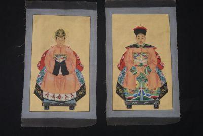 Petite peinture de couple d 39 anc tres chinois sur toile - Peinture saumon fonce ...